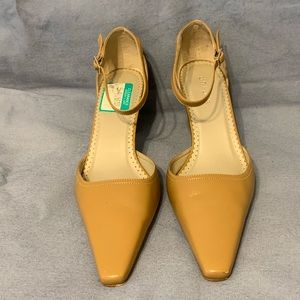 Unisa Tan Leather Ankle Strap Heels Size 8